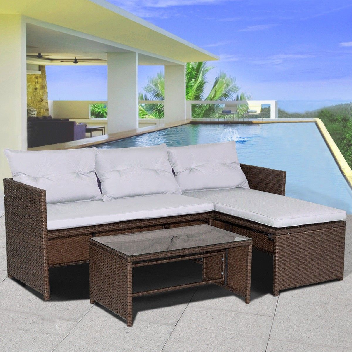 3 Pcs Outdoor #Rattan Wicker Couch Sofa Furniture Set