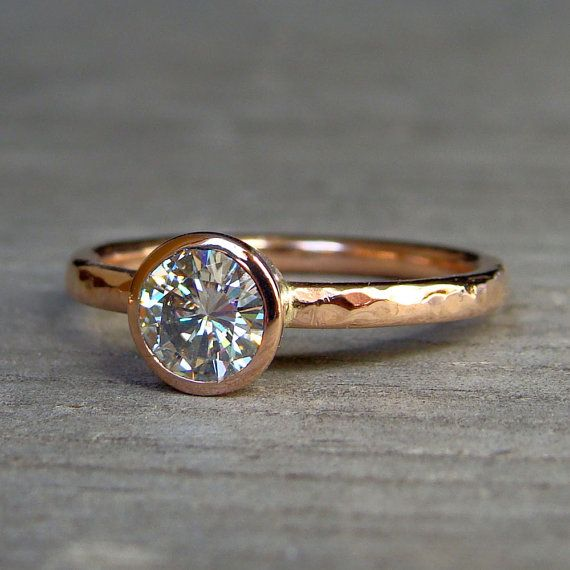 RESERVED for Adam - Semi-Mount Engagement Ring - Recycled 14k Yellow Gold,  Hammered, Made to Order - Eco-Friendly Diamond Alternative