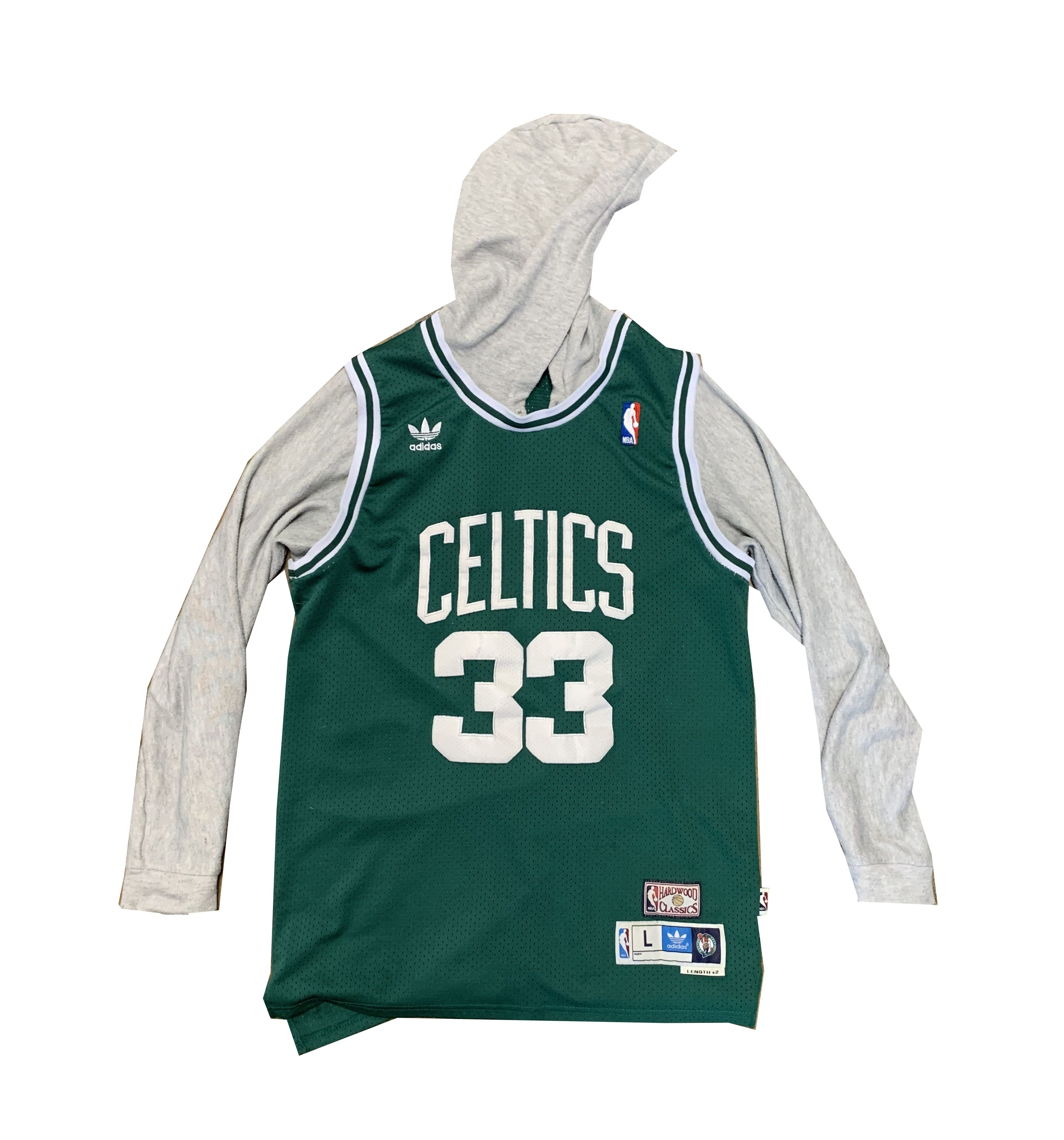 5733e9145 We love taking old jerseys and added custom sleeves and hoods!!! Check out  this Larry Bird we just finished!!