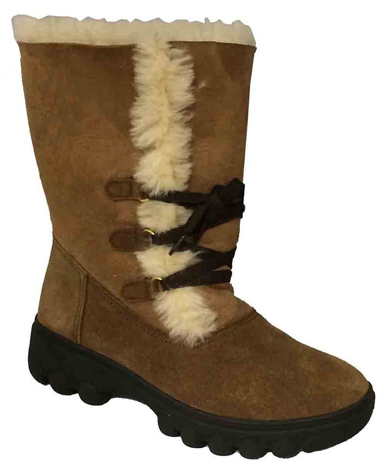 RJ's Fuzzies Women's Chestnut Sheepskin Rosalita Boots => Awesome boots.  Click the image : Ladies boots