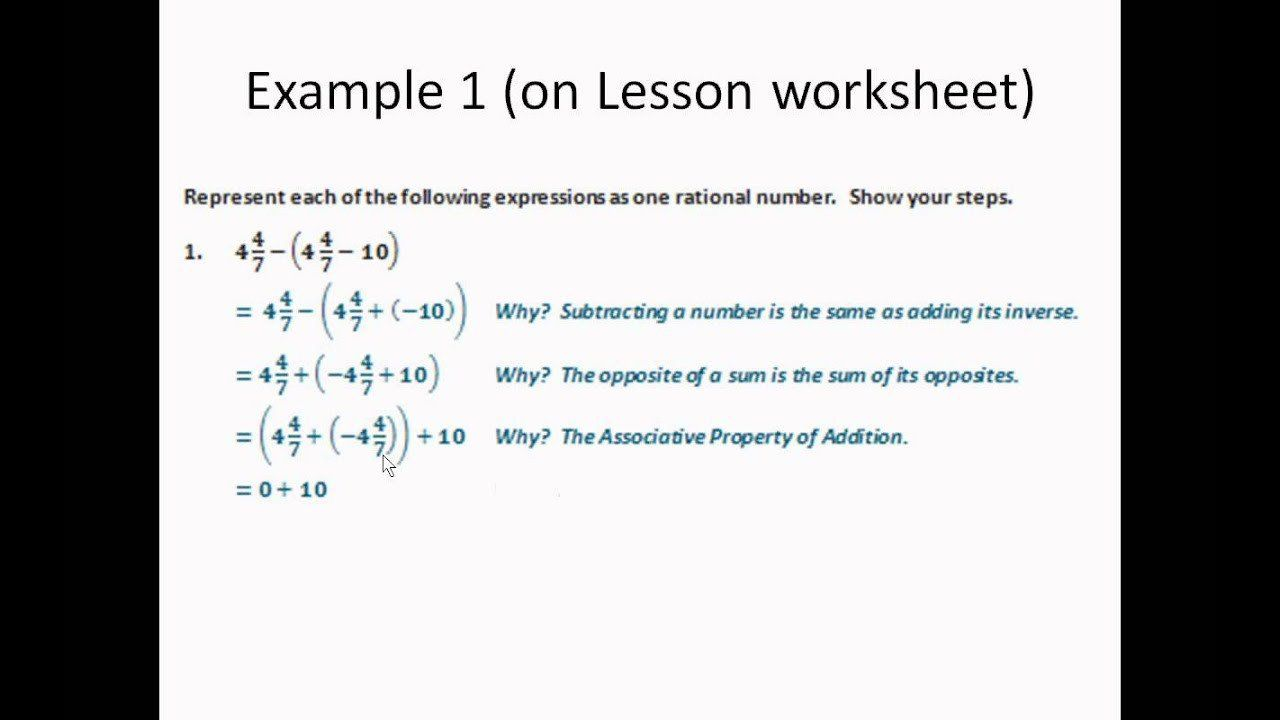 Applying Rational Numbers Worksheet 09 Applying Properties To Adding And Subtracting Rational Num Rational Numbers Number Worksheets Kids Worksheets Printables