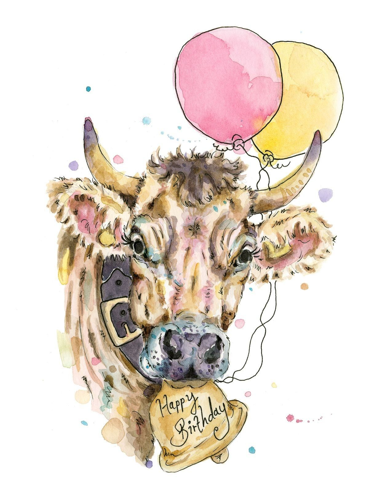 Cow Happy Birthday Meme : happy, birthday, Kargy, Happy, Anything!, Birthday, Birthday,, Watercolor, Cards