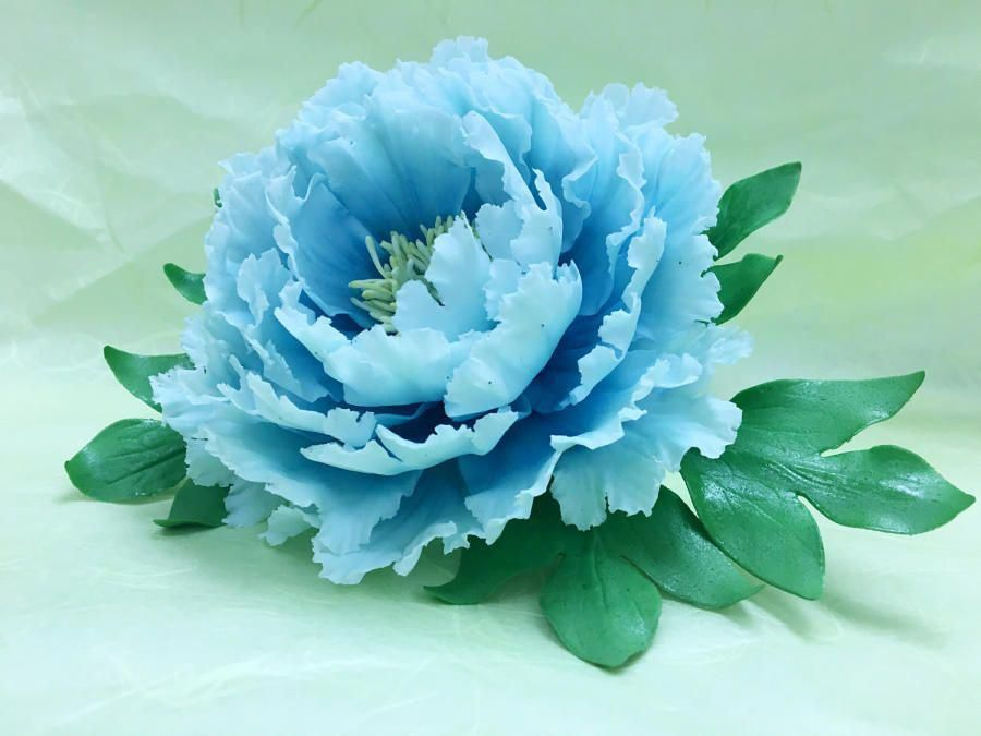 Blue Peony by Grazie cake and sugarcraft studio #bluepeonies
