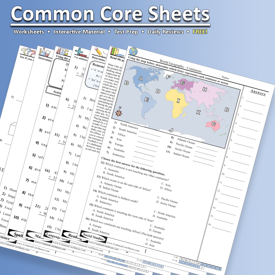 CommonCoreSheets.com - A great resource for math, science, language ...