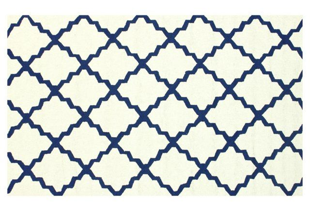Ryker Outdoor Rug, White/Blue