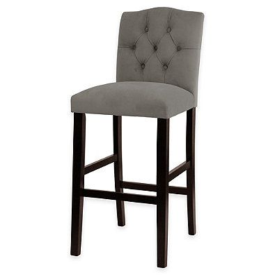 Kennedy 30 Inch Tufted Bar Stool In Velvet Grey Comfy Bar Stools