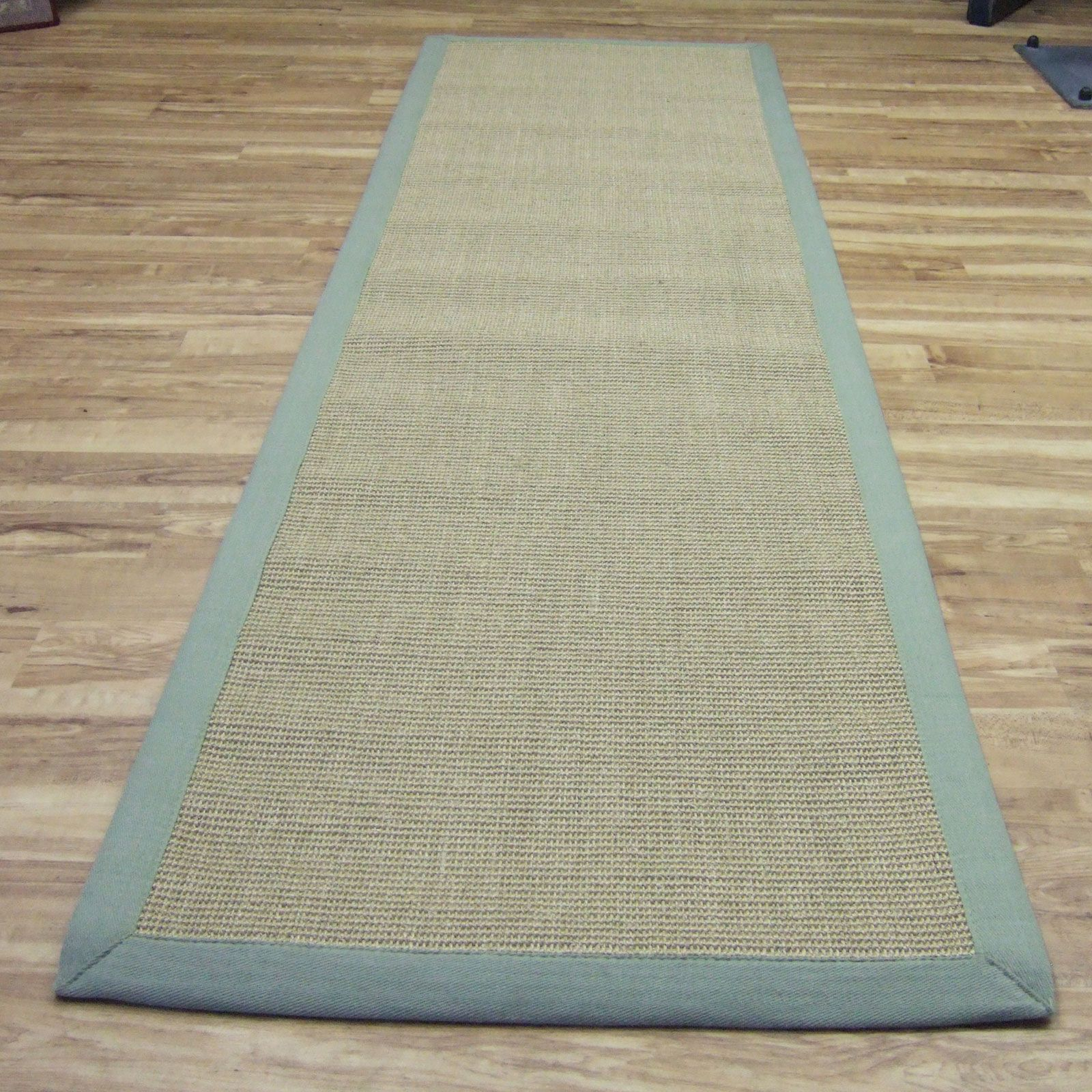 Sisal Hallway Runners In Linen With A Sage Green Border68x240cm Runner Sage Green Rug Rug Runners Hallway Runner