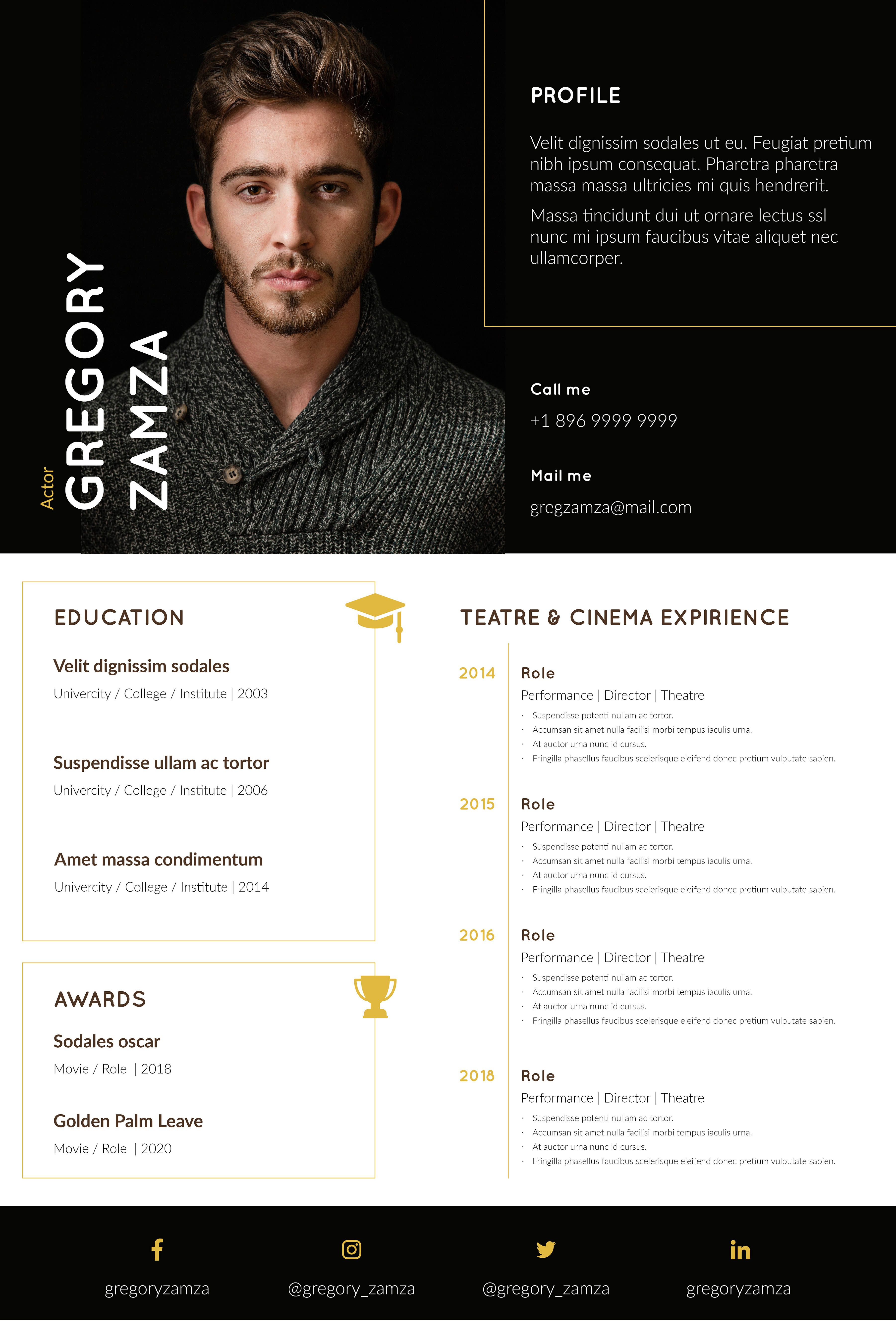 Pin on acting resume template