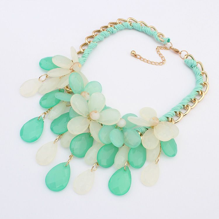 2014 New Flower and Waterdrop Necklaces Shourouk New Jewelry for Women Spring Flower Plastic Necklaces Wholesale $11.78