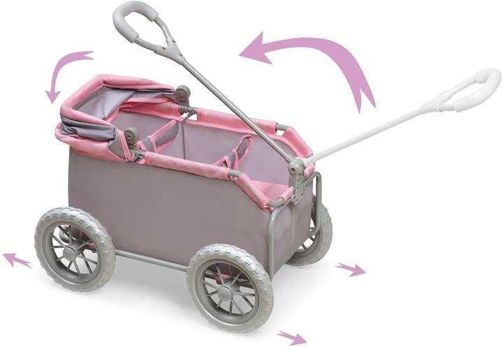 Badger Basket Leisure Twin Doll Wagon in GreyPink