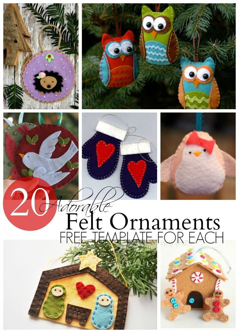 20 Adorable Felt Ornaments Felt Crafts Christmas Felt Ornaments