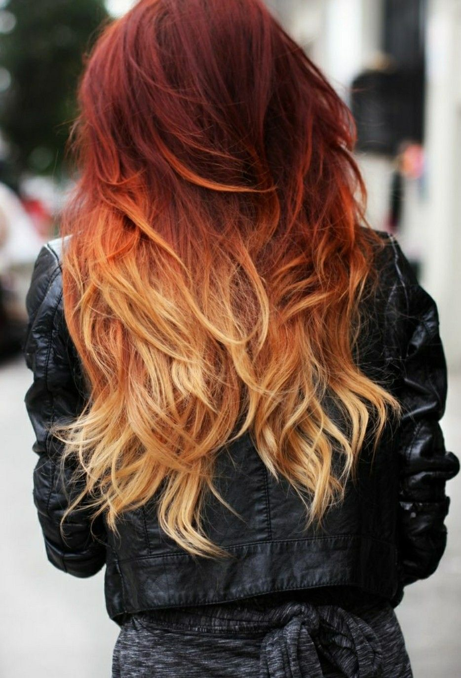 Perfect Red Orange Ombre Fading From Winter To Spring Red Ombre