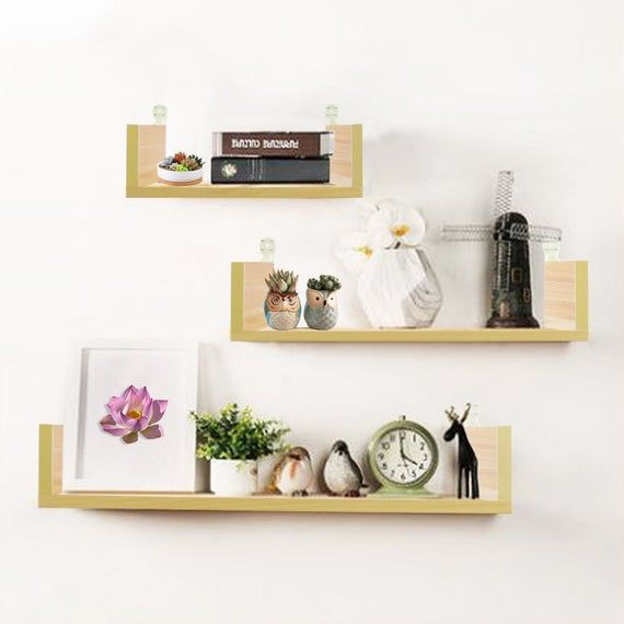 Floating Shelves Wall Hanging Shelves Home Decor Wall Rack Living Room Display Plants Space Saver With Wall Mounting Design Black Material High Quality Wood #wall #mounted #shelves #for #living #room