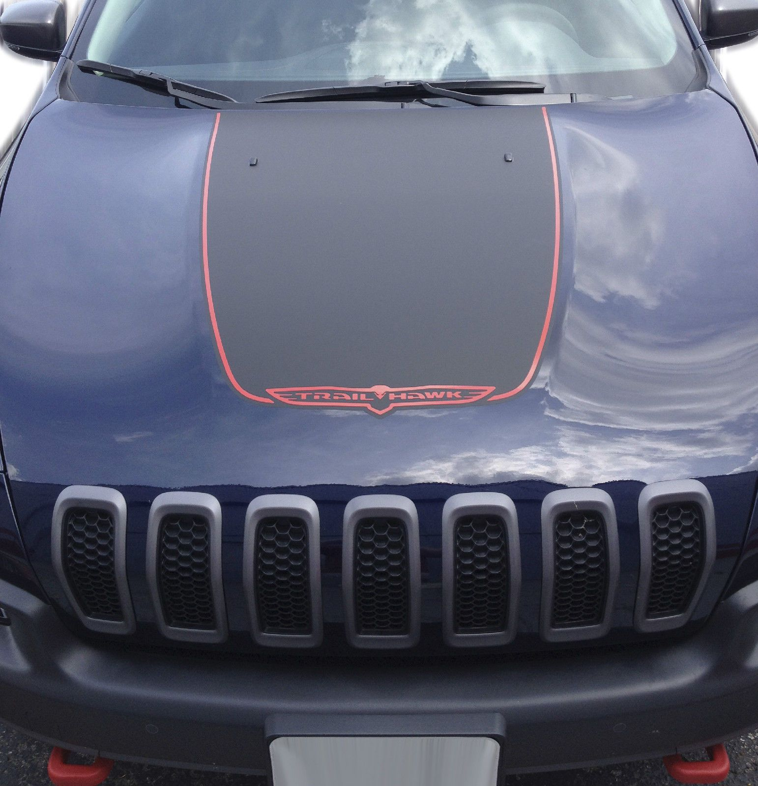 Jeep Cherokee Trailhawk Black Satin Vinyl Hood Decal - Custom vinyl car hood decals