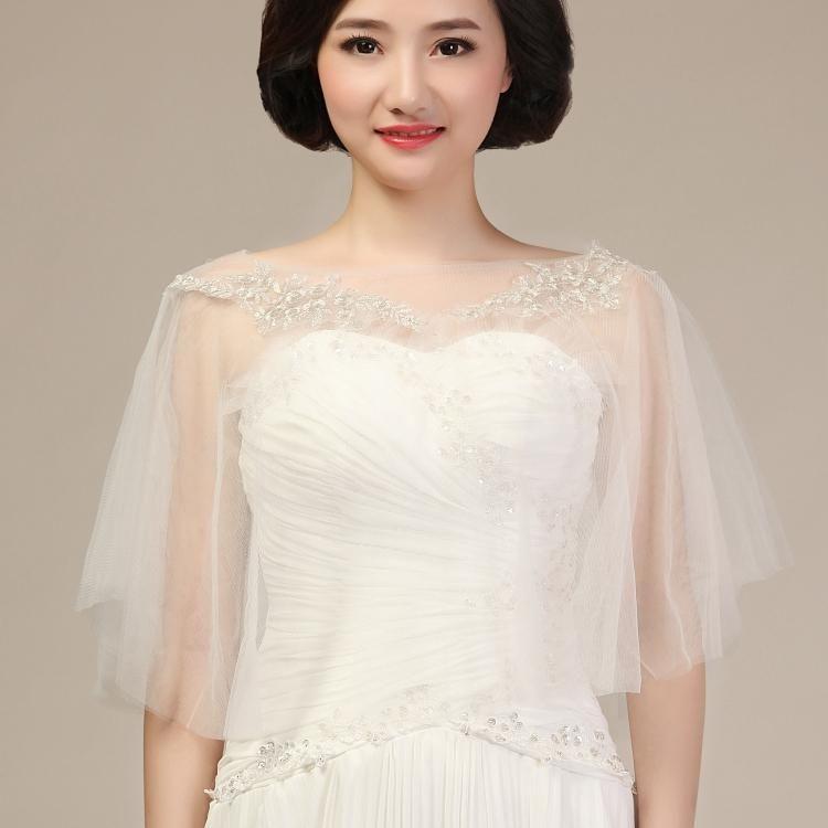 Best Elegant Bridal Wraps Jackets Soft Tulle Appliques For Wedding Dress Brides Lace Plus Size