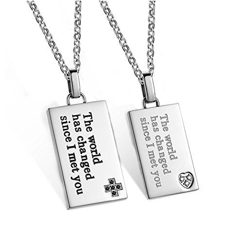LOPEZ KENT Stainless Steel Mens Womens Pendant Necklace Couples Rings Engraved Love CZ Neckalce