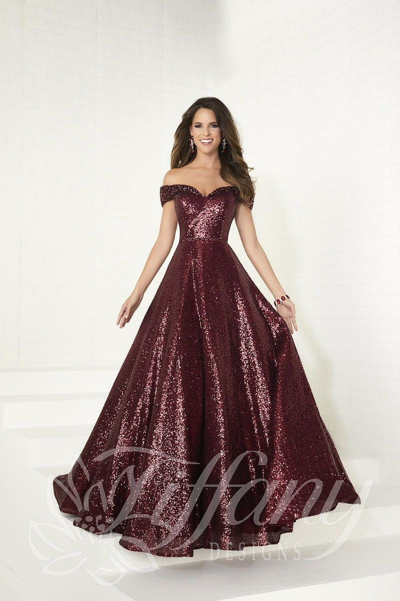 Tiffany designs off the shoulder sequin prom dress prom