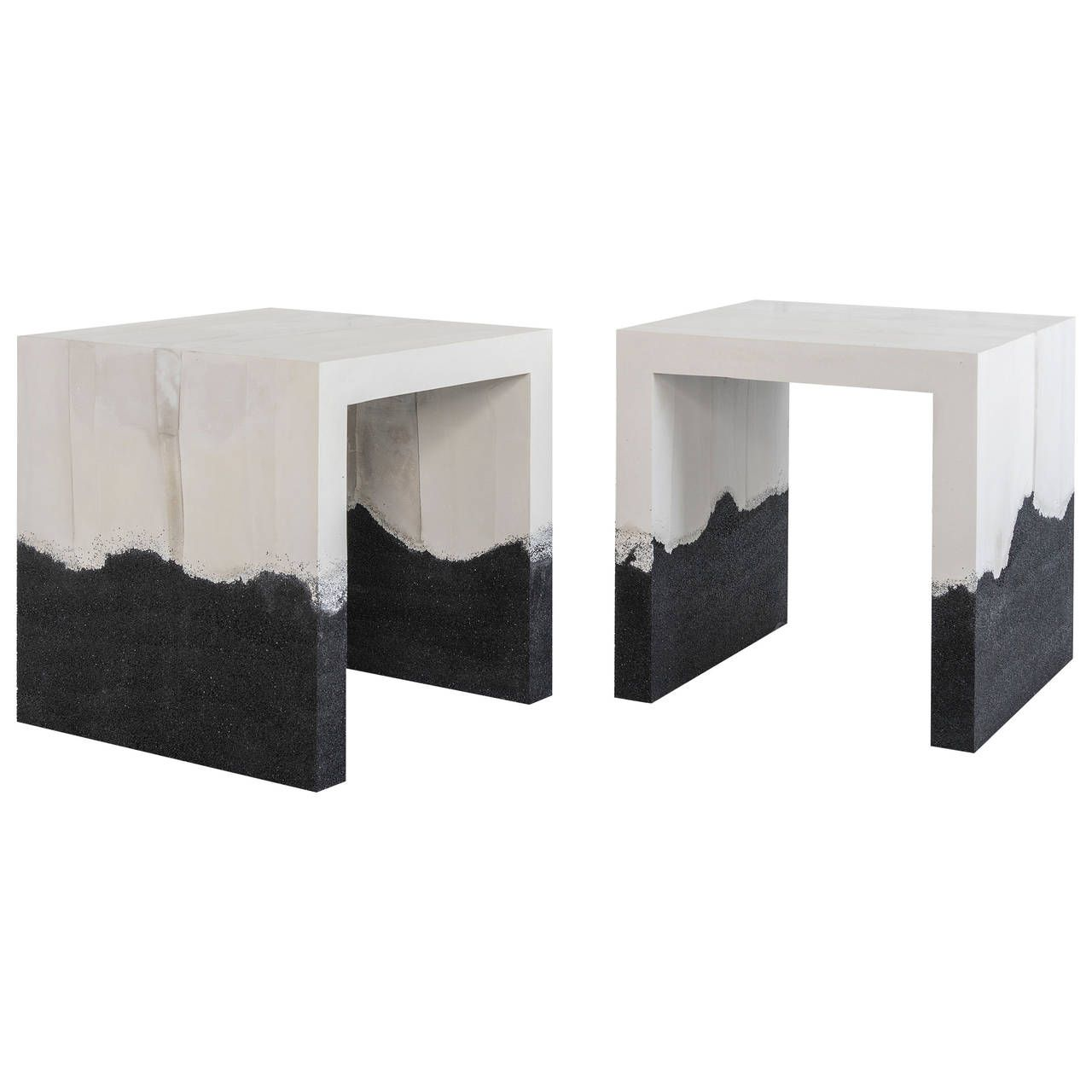 Raw Cement and Black Silica Side Table | Furniture ...