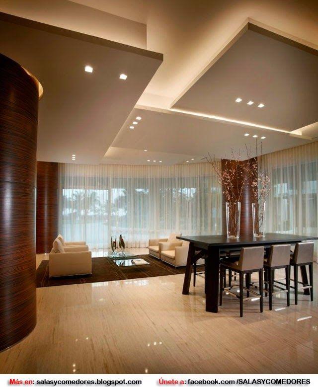 Decorar salas y comedores con techos falsos dise o de - Techos de pladur decorativos ...
