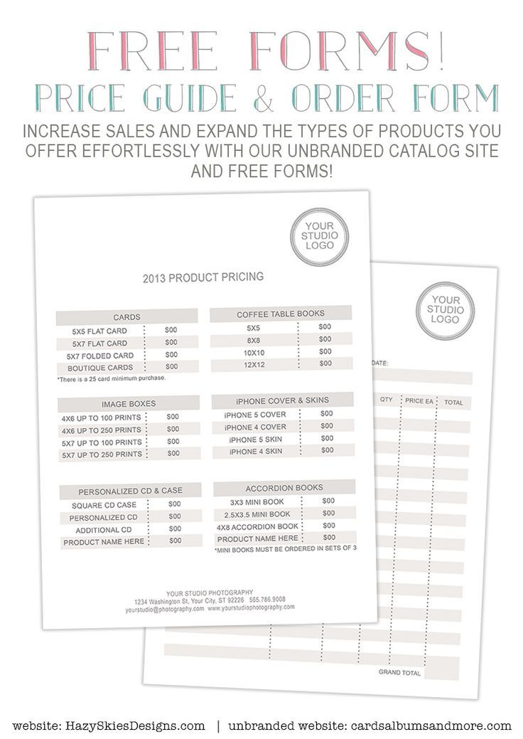 FREE Photography Forms - Pricing Guide and Order Form ...