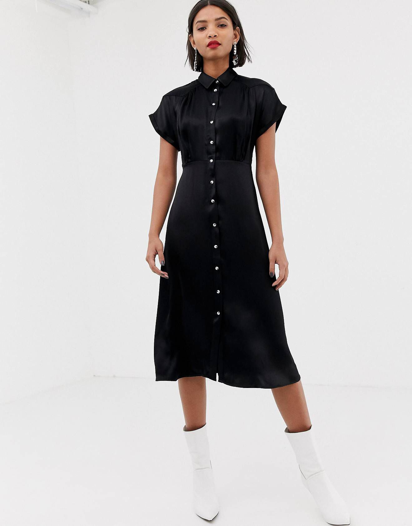 online retailer lower price with retail prices Mango Midi button front dress in black   Button front dress ...