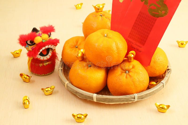 Mandarin Oranges In Basket With Chinese New Year Red Packets And Lion Doll Ser Aff Year Red Pa Mandarin Orange Red Packet Chinese New Year