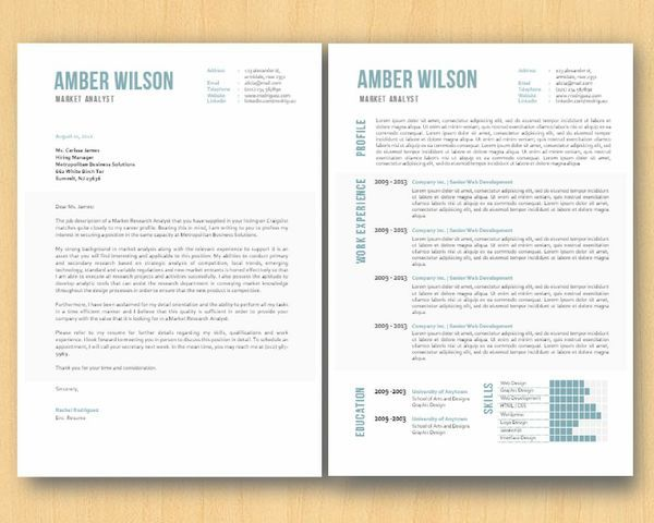 Blue Grey MS Word Resume Cover Letter Template, Resume Template - resume cover letter template word