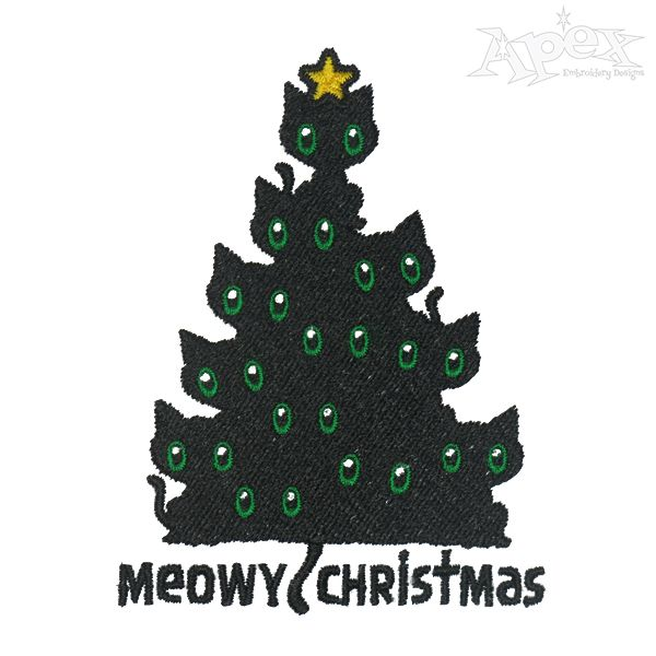 Meow Christmas Tree Embroidery Design Christmas Tree Embroidery Design Christmas Embroidery Designs Embroidery Designs