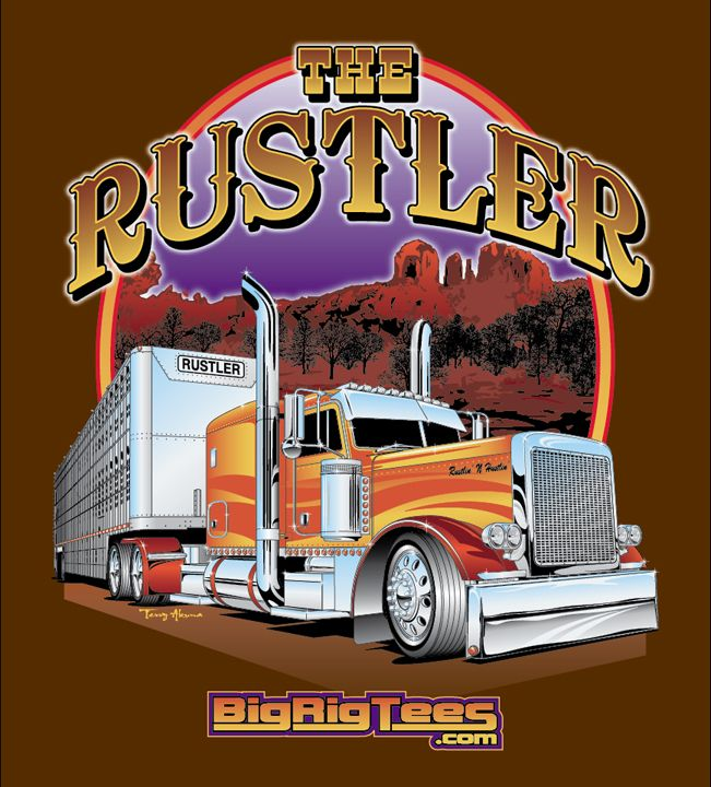 a7ddc5b87 T-shirt design for BRT's retail line of T-shirts. Peterbilt 379 with cattle  hauler.