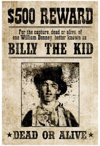 Billy The Kid Western Wanted Sign Print Poster Print Allposters Com Billy The Kids Western Posters Western Signs