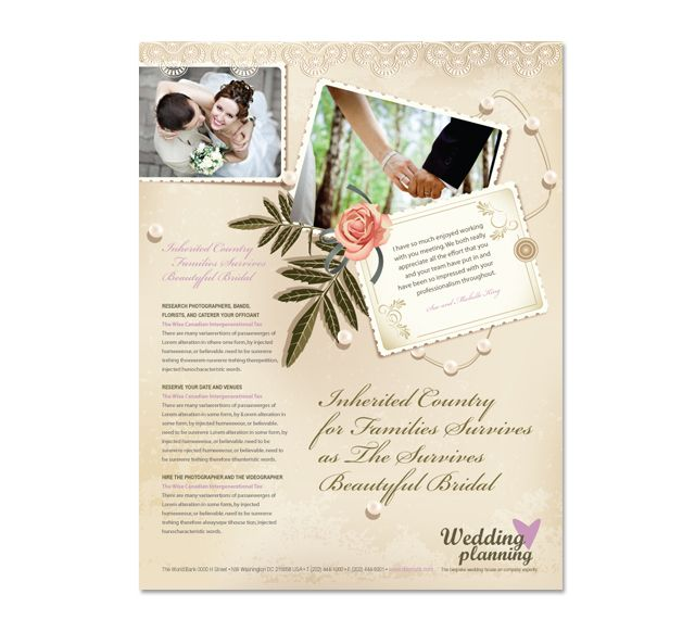 Wedding planner flyer template for Wedding planner brochure template