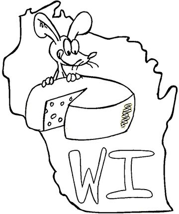 State Of Wisconsin Coloring Page With Images Coloring Pages