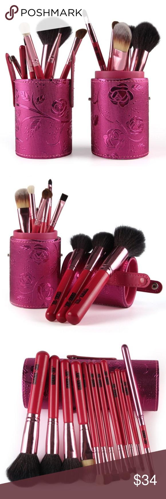 12 Piece Set Makeup Brushes Natural & Synthetic Set