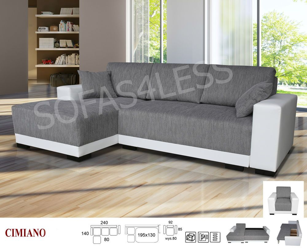 Details about cimiano leather fabric corner sofa z funkcja spania ...