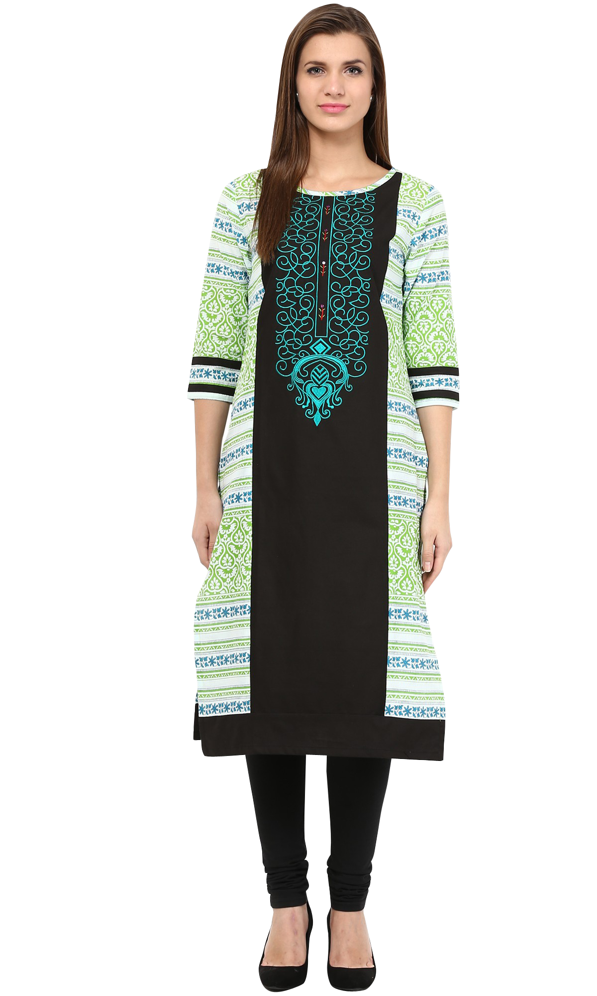 4f6e187fcad Feather Satin Embroidered Yoke Black Kurti