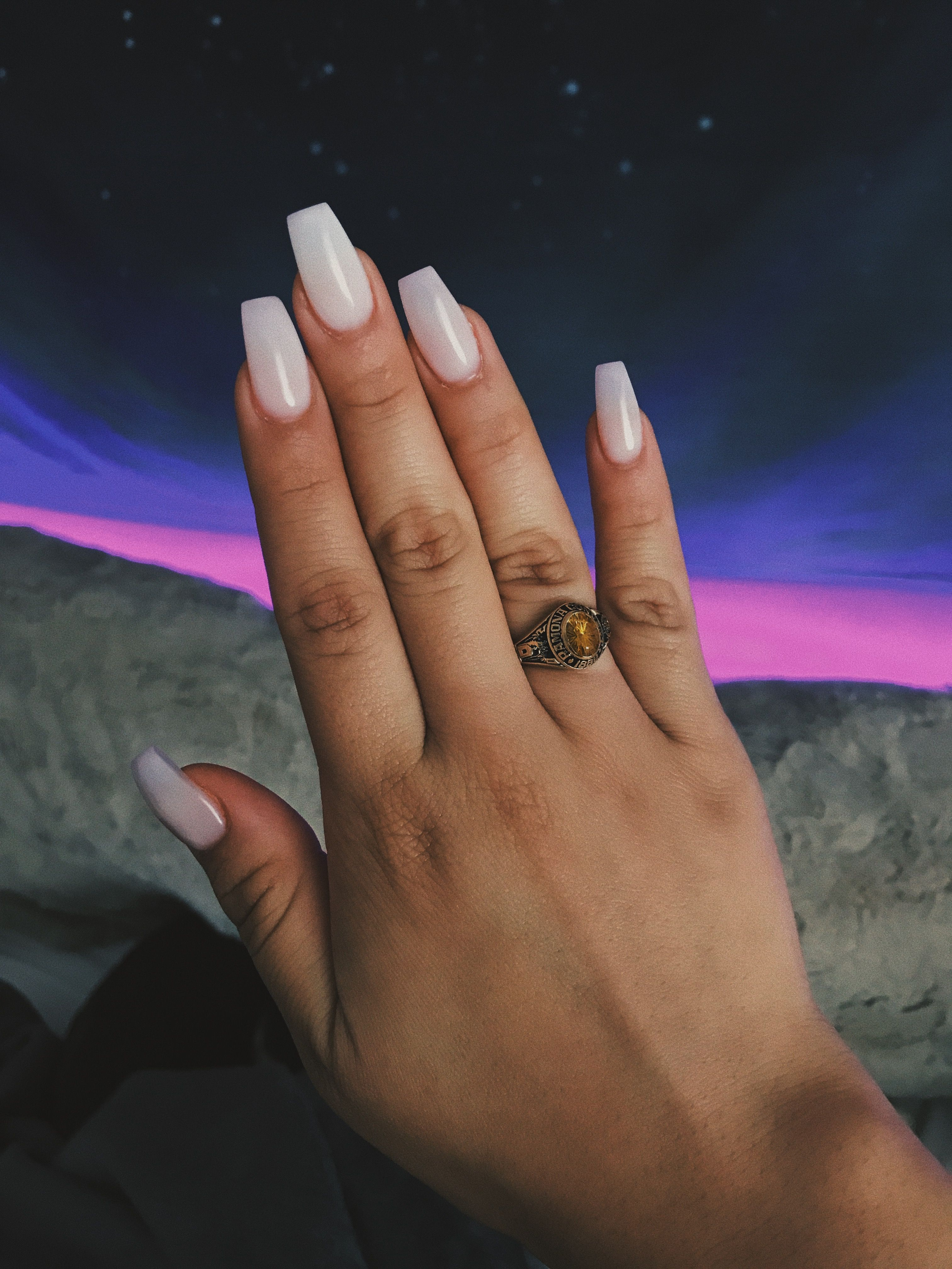 d02f5bcbebcf Clear white squared coffin acrylic nails (nut white) Acrylic Dip Nails