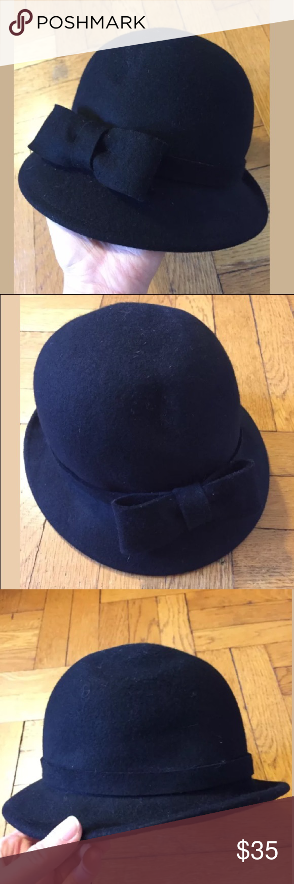 44bf69a0d85 Zara black wool bucket bow fashion hat Excellent condition! Measures  approx  9