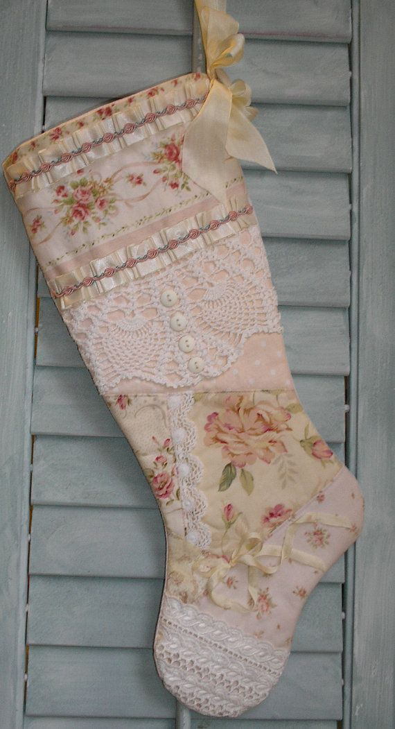Photo of Quilted Patchwork Christmas Stocking Pink Rose, Shabby Chic, Vintage Crochet and Embellishments