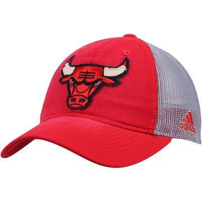 d9cce6cc5f5 Men s adidas Red Gray Chicago Bulls Trucker Adjustable Snapback Hat ...