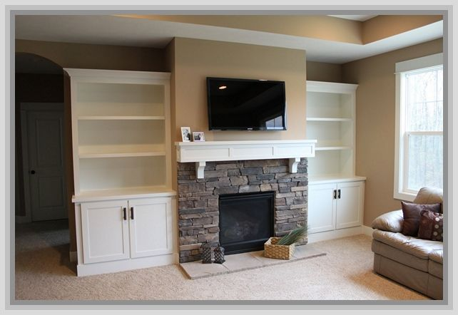 fireplace between bookcases | Built In Bookcases Beside ...