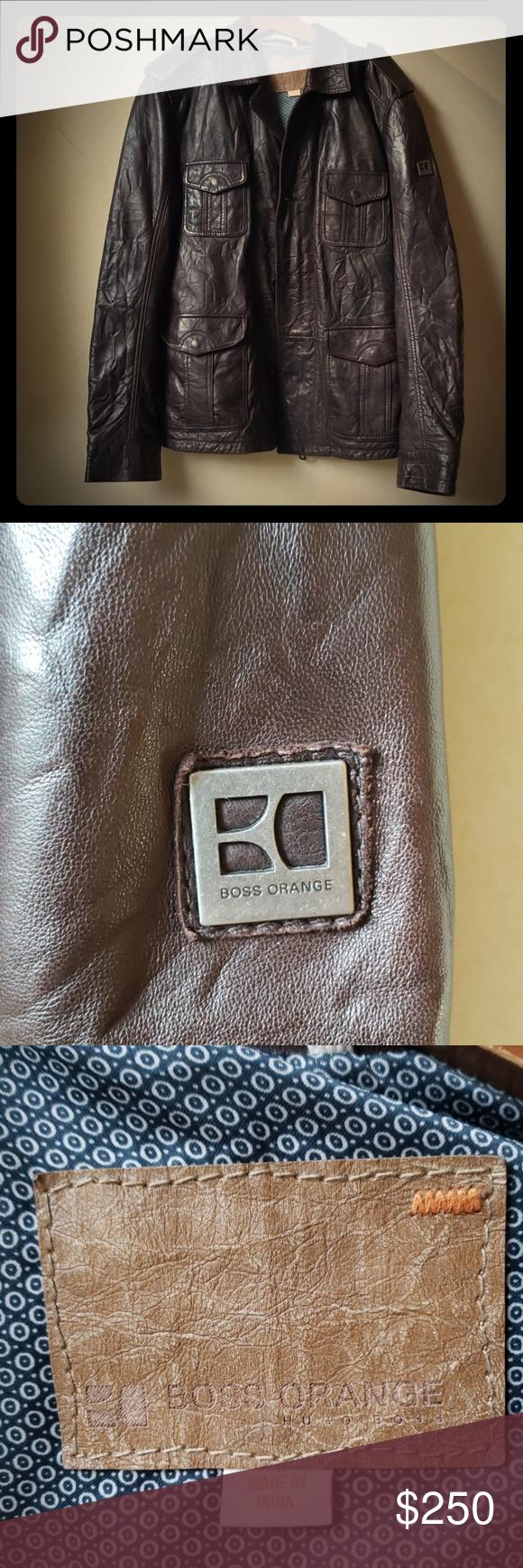 SOLD!!! EUC Hugo Boss Orange Brown Leather Jacket Brown