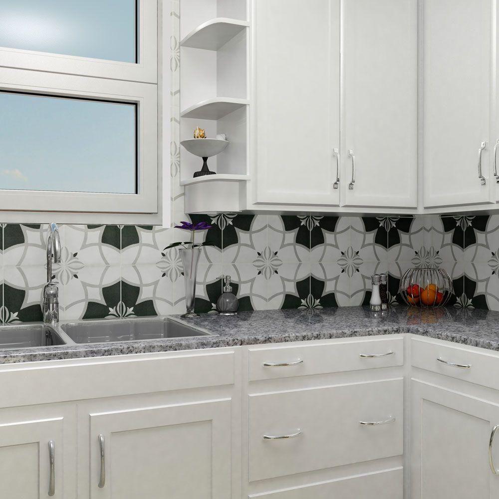 Merola Tile Twenties Crest 7-3/4 in. x 7-3/4 in. Ceramic Floor and ...