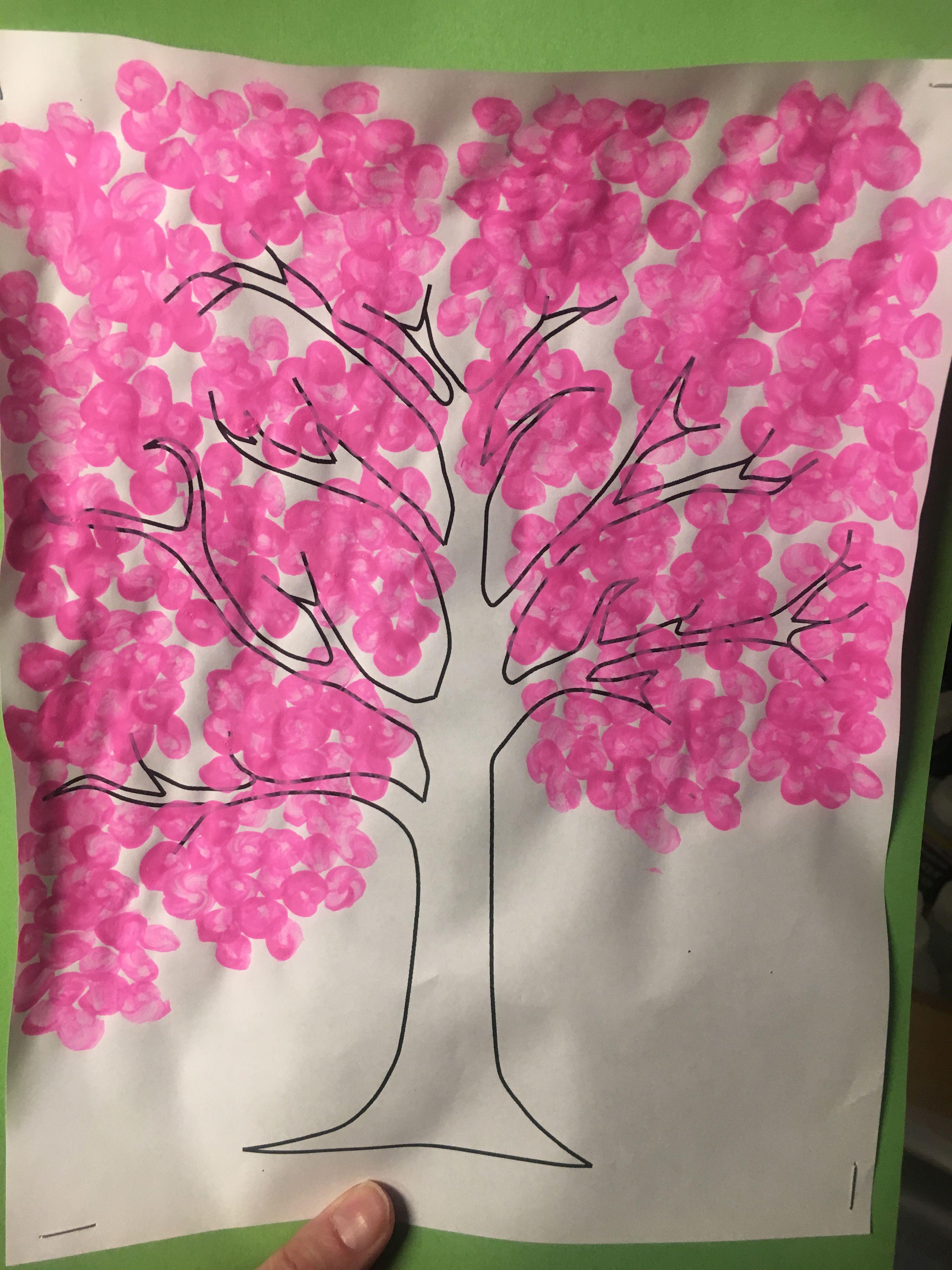 Cherry Blossom Tree Q Tip Painting Cherry Blossom Tree Blossom Trees Q Tip Painting