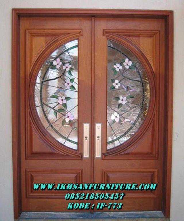 Jual Pintu Utama Rumah Kaca Motif Bunga Kayu Jati Model