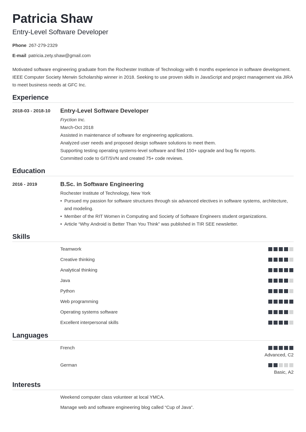 Entry Level Software Engineer Resume Sample Guide di 2020