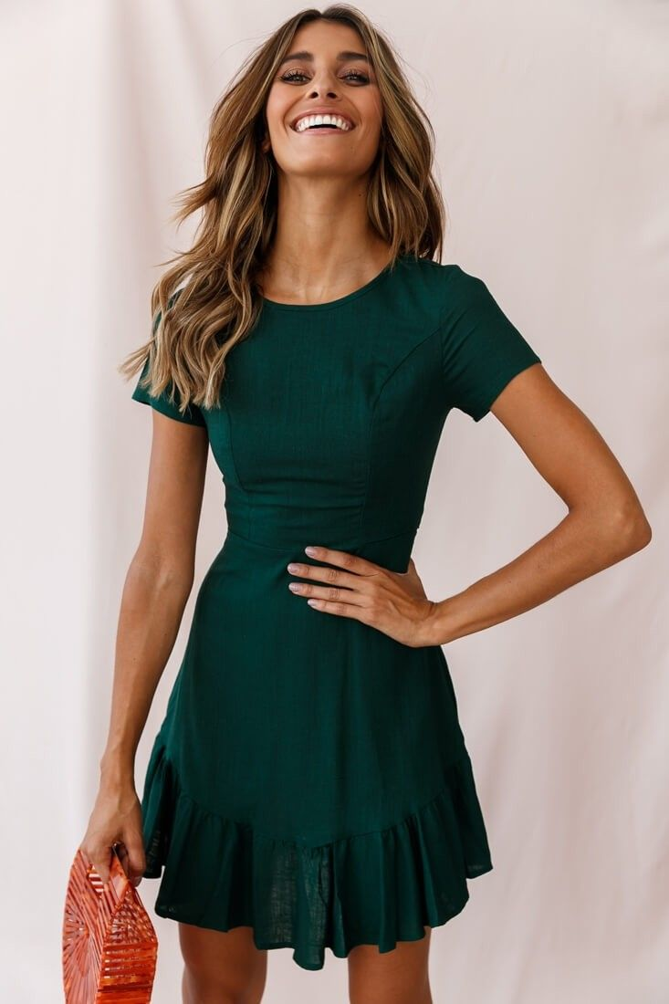 Photo of Meilani A-line Empire Dress Forest Green