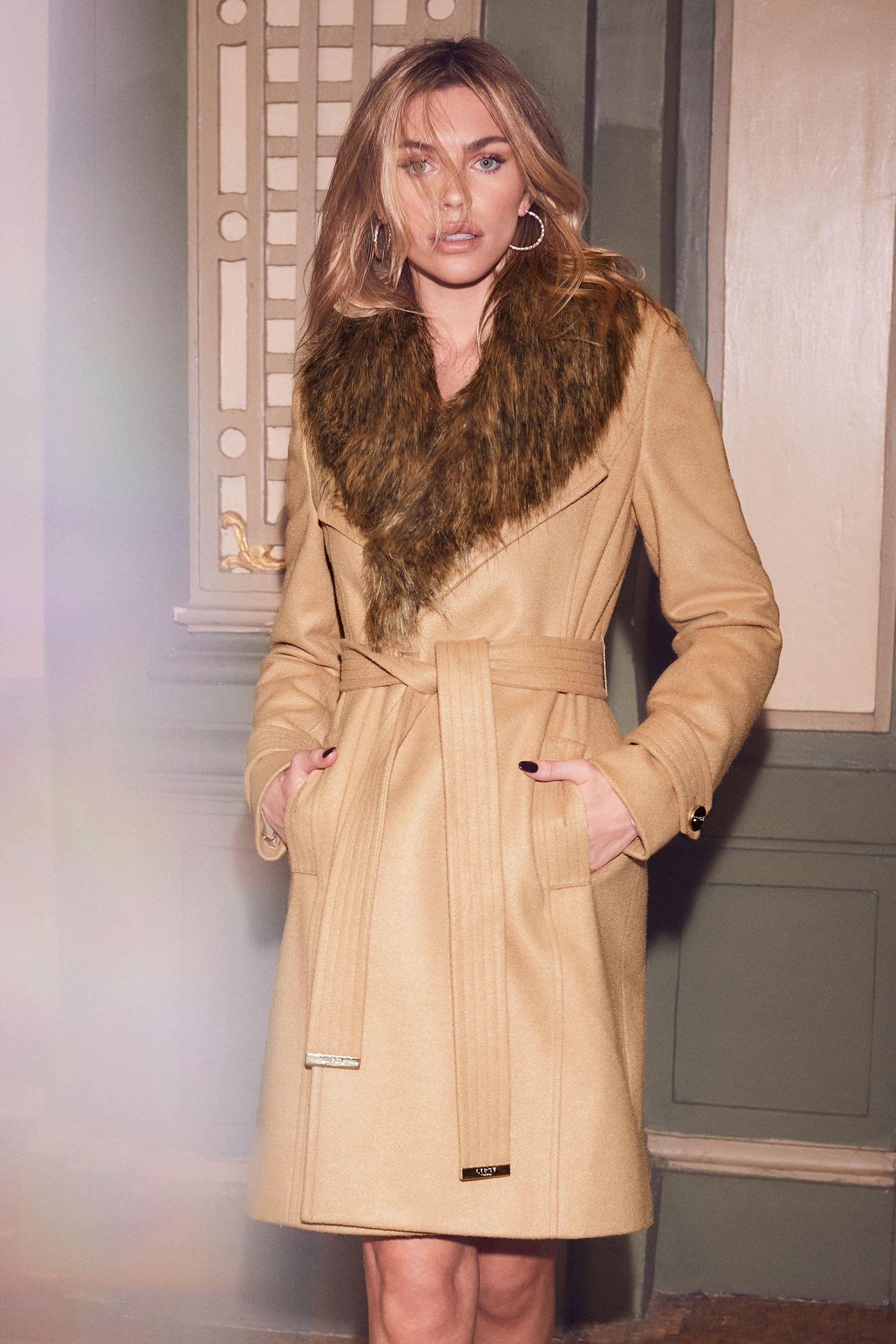 81227c365c576 Womens Abbey Clancy x Lipsy Faux Fur Collar Wrap Coat - Tan ...