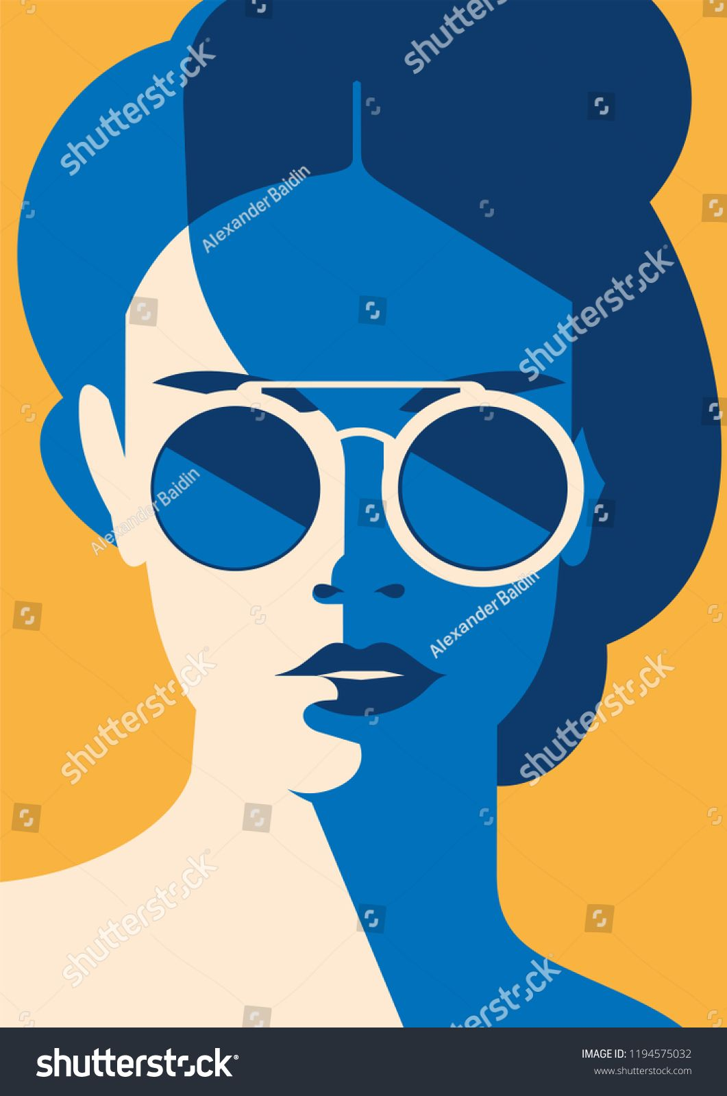 Fashion portrait of a model girl with sunglasses. Retro