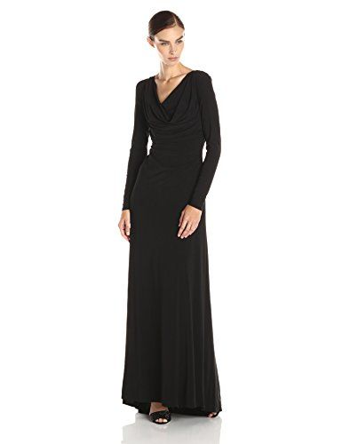 4226dde9f06 Vera Wang Women's Long Sleeve Matte Jersey Gown, Black, 10 >>> Details can  be found by clicking on the image.