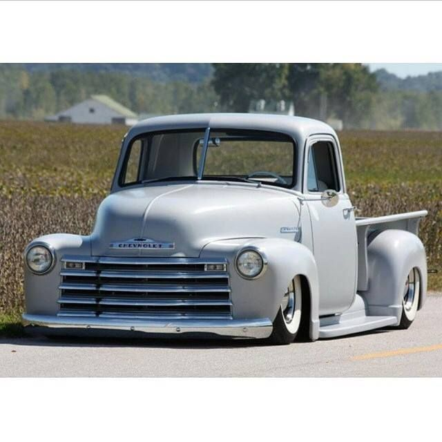 Chevy Chevrolet Advanced Design Pickup Truck Slammed Laid Out Dropped Over Baby Moon Steel Wheels Wrapped In Classic Pickup Trucks Chevy Trucks 53 Chevy Truck